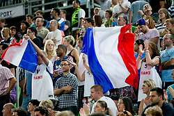 Fans of France during basketball match between National teams of Slovenia and France in Quarterfinal Match of U20 Men European Championship Slovenia 2012, on July 20, 2012 in SRC Stozice, Ljubljana, Slovenia. (Photo by Matic Klansek Velej / Sportida.com)