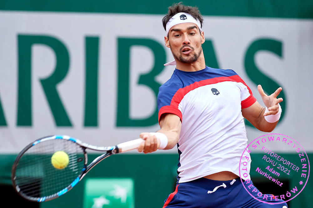 Paris, France - 2017 June 03: Fabio Fognini from Italy plays a forehand while his men's single match third round during tennis Grand Slam tournament The French Open 2017 (also called Roland Garros) at Stade Roland Garros on June 03, 2017 in Paris, France.<br /> <br /> Mandatory credit:<br /> Photo by &copy; Adam Nurkiewicz<br /> <br /> Adam Nurkiewicz declares that he has no rights to the image of people at the photographs of his authorship.<br /> <br /> Picture also available in RAW (NEF) or TIFF format on special request.<br /> <br /> Any editorial, commercial or promotional use requires written permission from the author of image.