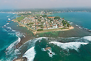 The Galle Fort, a World Heritage Site.<br />  Aerial view of the Galle Fort. 72 miles south of Colombo. The Dutch built the main part of the fort with its ramparts and fortifications.