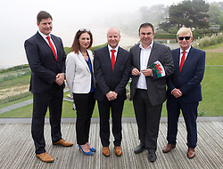 DINARD, FRANCE - Wednesday, June 8, 2016: FAW Trust Chief Executive Neil Ward, xxxx, FAW Chief Executive Jonathan Ford, xxxx, FAW Trust Chairman Peter Lee during a reception at the Wales team hotel Novotel Thalassa Dinard to celebrate the signing of a partnership between the FAW Trust and the Ligue De Bretagne De Football during the UEFA Euro 2016 Championship. (Pic by Paul Greenwood/Propaganda)
