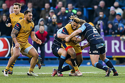 Jamal Ford-Robinson of Bristol Rugby is tackled by Kristian Dacey of Cardiff Blues - Rogan Thomson/JMP - 21/01/2017 - RUGBY UNION - Cardiff Arms Park - Cardiff, Wales - Cardiff Blues v Bristol Rugby - EPCR Challenge Cup.