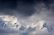 The north face of the Mont Blanc with the Glacier des Bossons through clouds, seen from the Lac Blanc, Chamonix, France / Impressionen beim Lac Blanc oberhalb von Chamonix, Mont-Blanc, an einem Spätsommertag im SeptemberImpressionen beim Lac Blanc oberhalb von Chamonix, Mont-Blanc, an einem Spätsommertag im September