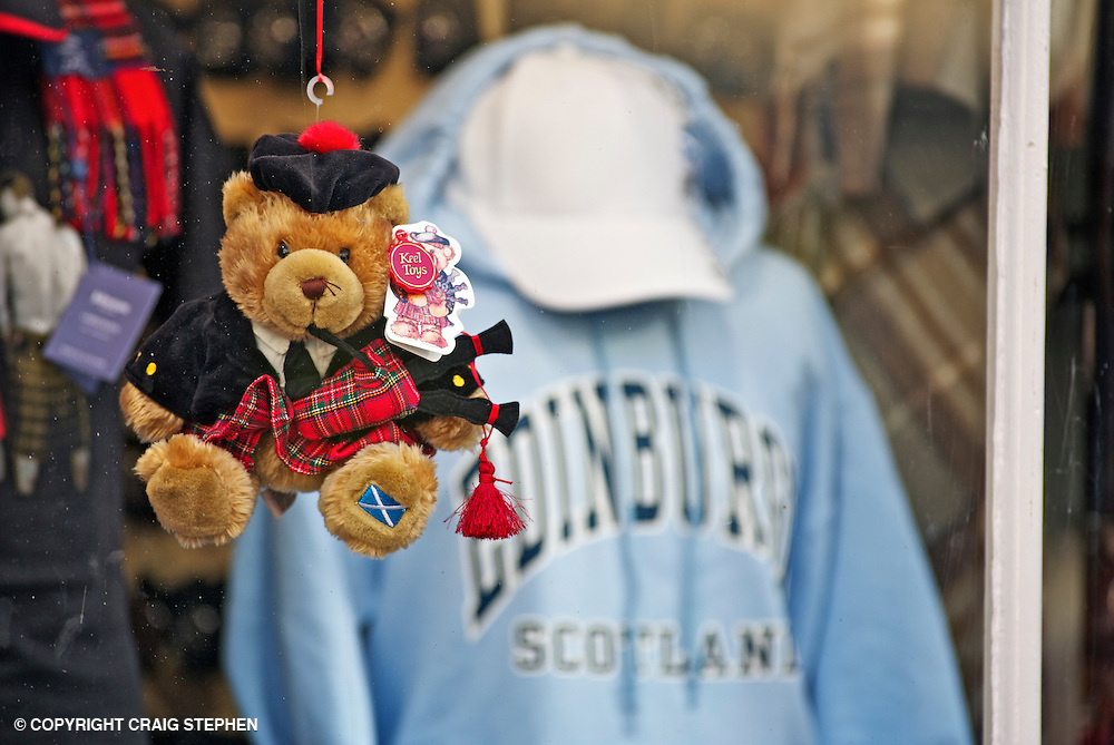 A typical gift shop on Edinburghs' Royal Mile offering souveniers and tartan tat for visitors to take back home.