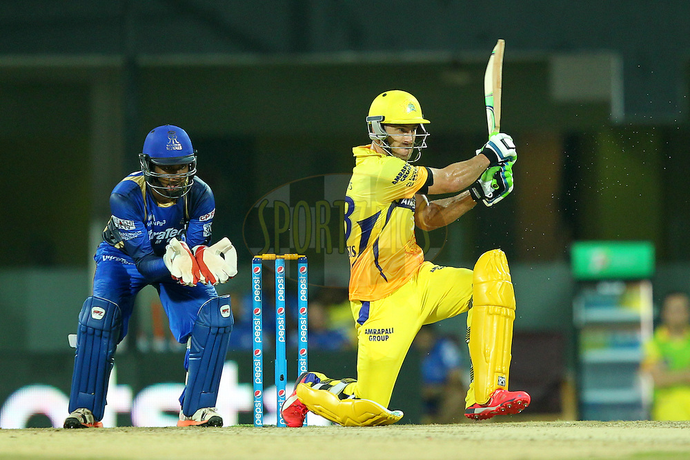 FafDu Plessis  of Chennai Super Kings during match 47 of the Pepsi IPL 2015 (Indian Premier League) between The Chennai Superkings and The Rajasthan Royals held at the M. A. Chidambaram Stadium, Chennai Stadium in Chennai, India on the 10th May 2015.Photo by:  Prashant Bhoot / SPORTZPICS / IPL