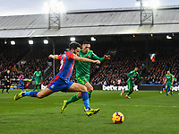 Football - 2018 / 2019 Premier League - Crystal Palace vs. Watford<br /> <br /> Crystal Palace's Andros Townsend gets in a cross despite the attentions of Watford's Jose Holebas, at Selhurst Park.<br /> <br /> COLORSPORT/ASHLEY WESTERN