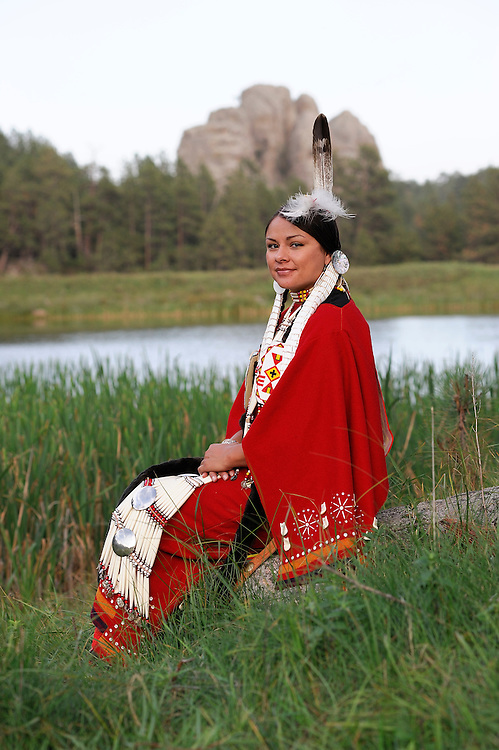 Terra Houska at Lakota Lake, Traditional Dress, Lakota, Native American Indian, Black Hills, South Dakota, USA