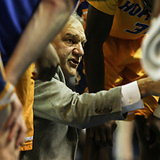 Hofstra Head Coach Joe Mihalich seen going over plays in the huddle in the first half of a NCAA regular season Colonial Athletic Association conference game between Delaware and Hofstra Wednesday, JAN 8, 2014 at The Bob Carpenter Sports Convocation Center in Newark Delaware.