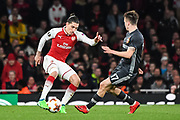 Arsenal Defender Hector Bellerin (24) and CSKA Moscow Midfielder Aleksandr Golovin (17) in action during the Europa League match between Arsenal and CSKA Moscow at the Emirates Stadium, London, England on 5 April 2018. Picture by Stephen Wright.