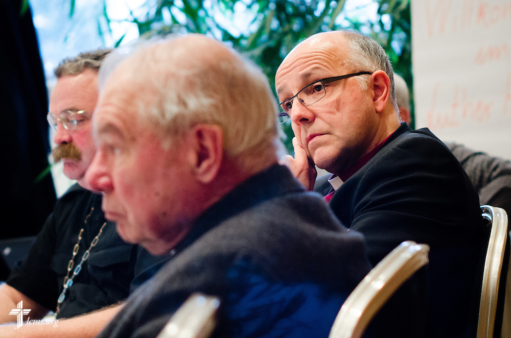 Bishop Hans-Jörg Voigt of the SELK (Independent Evangelical Lutheran Church) listens during a meeting at the Luther Hotel on Wednesday, Jan. 29, 2014, in Wittenberg, Germany. LCMS Communications/Erik M. Lunsford