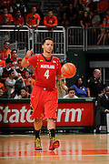 January 13, 2013: Seth Allen #4 of Maryland in action during the NCAA basketball game between the Miami Hurricanes and Maryland Terrapins at the BankUnited Center in Coral Gables, FL. The Hurricanes defeated the Terrapins 54-47.