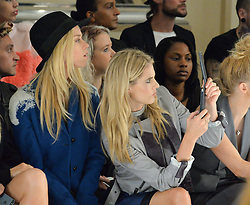 Left to right, LADY MARY CHARTERIS and DONNA AIR at the Gyunel Spring Summer 2015 fashion show as part of London Fashion week 2015 held at Victoria House, Bloomsbury Square, London on 12th September 2014.