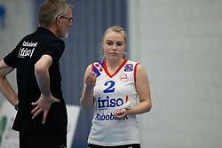 20180303 NED: Eredivisie Sliedrecht Sport - VC Sneek, Sliedrecht <br />Ruud de Wit evalueert met Janieke Popma of VC Sneek <br />&copy;2018-FotoHoogendoorn.nl / Pim Waslander
