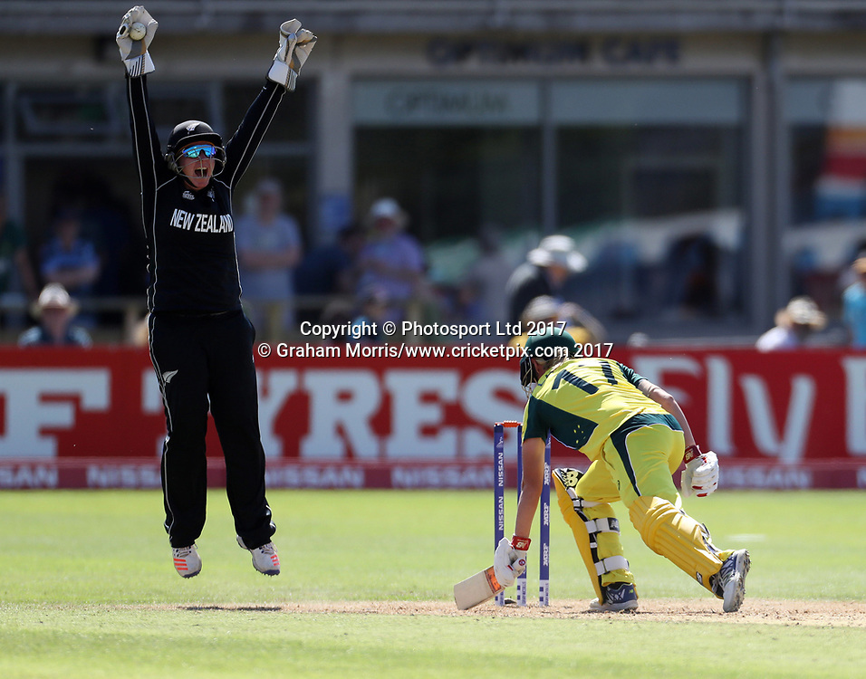 Meg Lanning is caught by wicket keeper Rachel Priest off the bowling of Amelia Kerr during the Women's World Cup fifty over match between Australia and New Zealand at the County Ground, Bristol. Photo: Graham Morris /www.photosport.nz