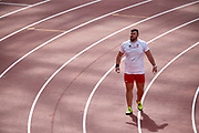 Great Britain, London - 2017 August 05: Konrad Bukowiecki (Gwardia Szczytno) of Poland competes in men&rsquo;s shot put qualification during IAAF World Championships London 2017 Day 2 at London Stadium on August 05, 2017 in London, Great Britain.<br /> <br /> Mandatory credit:<br /> Photo by &copy; Adam Nurkiewicz<br /> <br /> Adam Nurkiewicz declares that he has no rights to the image of people at the photographs of his authorship.<br /> <br /> Picture also available in RAW (NEF) or TIFF format on special request.<br /> <br /> Any editorial, commercial or promotional use requires written permission from the author of image.