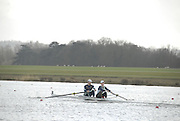 Eton, GREAT BRITAIN,  Will KENWORTHY (bow), and Josh BERNSTEIN (stroke), M2-, move away from the Start, GB Trials 3rd Winter assessment at,  Eton Rowing Centre, venue for the 2012 Olympic Rowing Regatta, Trials cut short due to weather conditions forecast for the second day Sunday  13/02/2011   [Photo, Karon Phillips/Intersport-images]
