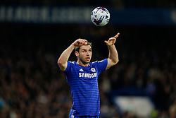 Branislav Ivanovic of Chelsea takes a throw in - Photo mandatory by-line: Rogan Thomson/JMP - 07966 386802 - 27/01/2015 - SPORT - FOOTBALL - London, England - Stamford Bridge - Chelsea v Liverpool - Capital One Cup Semi-Final Second Leg.