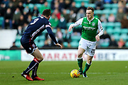 Brandon Barker (#20) of Hibernian takes on Jason Naismith (#3) of Ross County during the Ladbrokes Scottish Premiership match between Hibernian and Ross County at Easter Road, Edinburgh, Scotland on 23 December 2017. Photo by Craig Doyle.
