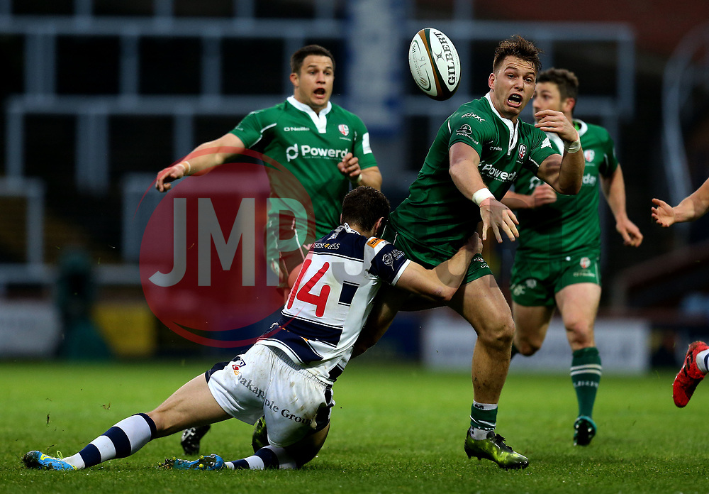 Alex Lewington of London Irish drops the ball after being tackled by Jonah Holmes of Yorkshire Carnegie - Mandatory by-line: Robbie Stephenson/JMP - 17/05/2017 - RUGBY - Headingley Carnegie Stadium - Leeds, England - Yorkshire Carnegie v London Irish - Greene King IPA Championship Final 1st Leg