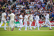 England celebrate the wicket of Shaun Marsh caught by Joe Root  during 2nd day of the Investec Ashes Test match between England and Australia at Trent Bridge, Nottingham, United Kingdom on 7 August 2015. Photo by Shane Healey.
