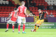 Bradford City striker Charlie Wyke (9) with a shot on goal during the EFL Sky Bet League 1 match between Charlton Athletic and Bradford City at The Valley, London, England on 14 March 2017. Photo by Matthew Redman.