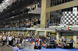 13.11.2011, Yas-Marina-Circuit, Abu Dhabi, UAE, Grosser Preis von Abu Dhabi, im Bild Fernando Alonso (ESP), Scuderia Ferrari - Lewis Hamilton (GBR), McLaren F1 Team - Jenson Button (GBR),  McLaren F1 Team  // during the Formula One Championships 2011 Large price of Abu Dhabi held at the Yas-Marina-Circuit, 2011/11/12. EXPA Pictures © 2011, PhotoCredit: EXPA/ nph/ Dieter Mathis..***** ATTENTION - OUT OF GER, CRO *****