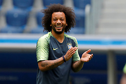 June 21, 2018 - Saint Petersburg, Russia - Marcelo during a Brazil national team training session during the FIFA World Cup 2018 on June 21, 2018 at Saint Petersburg Stadium in Saint Petersburg, Russia. (Credit Image: © Mike Kireev/NurPhoto via ZUMA Press)