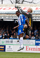 Photo: Richard Lane/Richard Lane Photography. <br /> Colchester United v Coventry City. Coca Cola Championship. 19/04/2008. City's Kasper Schmeichel and United's Kevin Lisbie challenge for the ball.