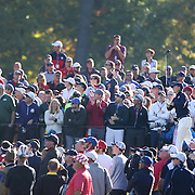 Ryder Cup 2016. Day Two. Jordan Spieth of the United States plays his tee shot on the sixth during the Saturday morning foursomes during the Ryder Cup at the Hazeltine National Golf Club on October 01, 2016 in Chaska, Minnesota.  (Photo by Tim Clayton/Corbis via Getty Images)