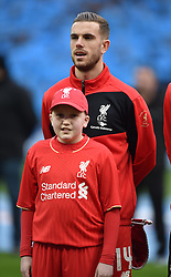 LONDON, ENGLAND - Sunday, February 28, 2016: Liverpool's captain Jordan Henderson before the Football League Cup Final match against Manchester City at Wembley Stadium. (Pic by Jason Roberts/Pool/Propaganda)