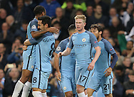 Ilkay Gundogan of Manchester City celebrates the equalising goal with provider Raheem Sterling of Manchester City during the Champions League Group C match at the Etihad Stadium, Manchester. Picture date: November 1st, 2016. Pic Simon Bellis/Sportimage