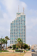 Israel, Sharon region, the promenade of Netanya The Carmel Hotel in the background