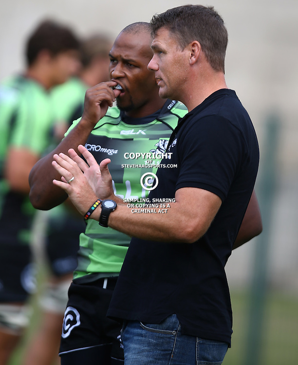 DURBAN, SOUTH AFRICA - APRIL 23: Khaya Majola (Captain) of the Cell C Sharks XV with Michael Horak during the Provincial Cup match between Cell C Sharks XV and Windhoek Draught Welwitschias at King Zwelithini Stadium on April 23, 2016 in Durban, South Africa. (Photo by Steve Haag/Gallo Images)