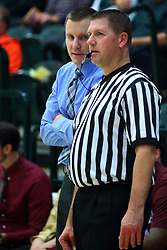 17 November 2017:  Sam Hargraves chats with Mike Skrabis during an College men's division 3 CCIW basketball game between the Alma Scots and the Illinois Wesleyan Titans in Shirk Center, Bloomington IL