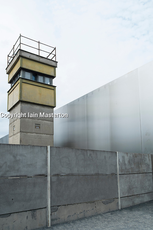 Guardtower and location of former death strip of Berlin Wall on Bernauer Strasse and Ackerstrasse in Berlin Germany