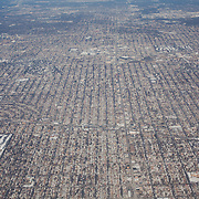 The endless blocks of residential housing in Chicago seen from an approaching aeroplane.