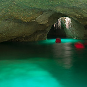 Snorkeling the underground river at Xcaret. Quintana Roo. Mexico.
