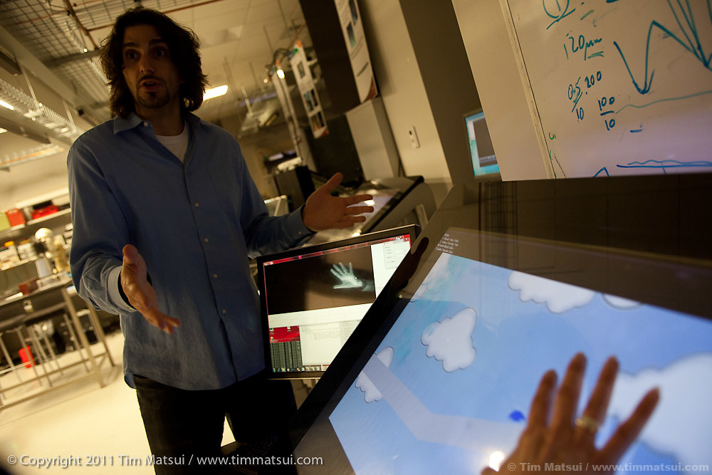 Stevie Bathiche, Director of Research, Applied Sciences Group, discusses touch-sensitive interfaces in the Microsoft Incubation Lab at the Microsoft Campus in Redmond, Washington, USA, on Wednesday, June 8, 2011. Photo by Tim Matsui / Microsoft.