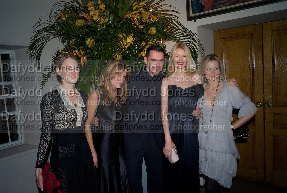 EMILY DYSON; EMILY OPPENHEIMER; ROLAND MOURET; CLAUDIA SCHIFFER; JANE GOTTSCHALK. Chaos Point: Vivienne Westwood Gold Label Collection performance art catwalk show and auction in aid of the NSPCC. Banqueting House. London. 18 November 2008<br />