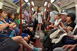 © Licensed to London News Pictures. 07/07/2017. London, UK. Passengers travel on the tube on the Bakerloo line, which has been revealed to be the tube line with the hottest temperatures in summer according to a recent report by TFL. Temperatures average 27C during the heat of summer.   Photo credit : Stephen Chung/LNP