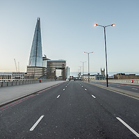 London, UK - 25 December 2014: empty London Bridge in London on early Christmas morning.