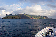 Cruiseship off Ua Po, Marquesas, French Polynesia<br />