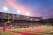 FAYETTEVILLE, AR - NOVEMBER 24:  Sunset over the stadium during a game between the Arkansas Razorbacks and the Missouri Tigers at Razorback Stadium on November 24, 2017 in Fayetteville, Arkansas.  The Tigers defeated the Razorbacks 48-45.  (Photo by Wesley Hitt/Getty Images) *** Local Caption ***