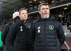 Republic of Ireland goalkeeping coach Seamus McDonagh (left) assistant coach Steve Guppy (centre) and assistant manager Roy Keane during the UEFA Nations League, Group B4 match at Ceres Park, Aarhus. PRESS ASSOCIATION Photo. Picture date: Monday November 19, 2018. See PA story SOCCER Denmark. Photo credit should read: Simon Cooper/PA Wire. RESTRICTIONS: Editorial use only. No commercial use.
