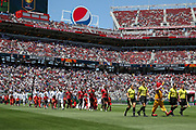 Manchester United and Real Madrid come onto the pitch during the AON Tour 2017 match between Real Madrid and Manchester United at the Levi's Stadium, Santa Clara, USA on 23 July 2017.
