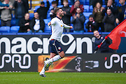 Bolton Wanderers striker Gary Madine (14) scores a goal and celebrates to make the score 1-0 during the EFL Sky Bet League 1 match between Bolton Wanderers and AFC Wimbledon at the Macron Stadium, Bolton, England on 4 March 2017. Photo by Simon Davies.