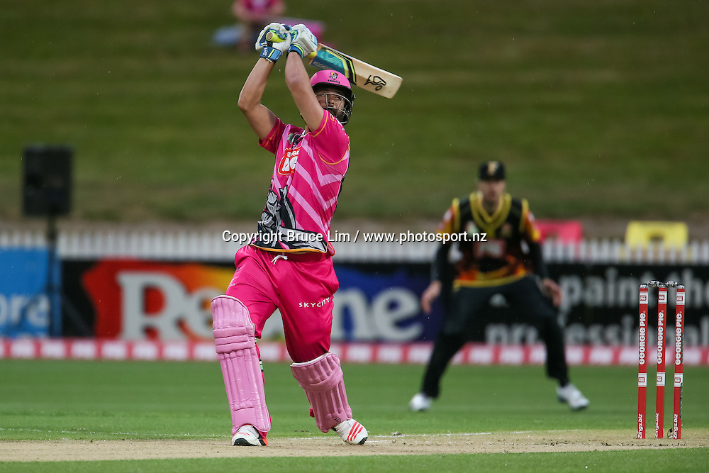 SKYCITY Northern Knight's Anton Devcich batting during the Georgie Pie Super Smash T20 cricket match - SKYCITY Northern Knights v Wellington Firebirds on Thursday 12 November 2015 at Seddon Park, Hamilton. Copyright Photo:  Bruce Lim / www.photosport.nz