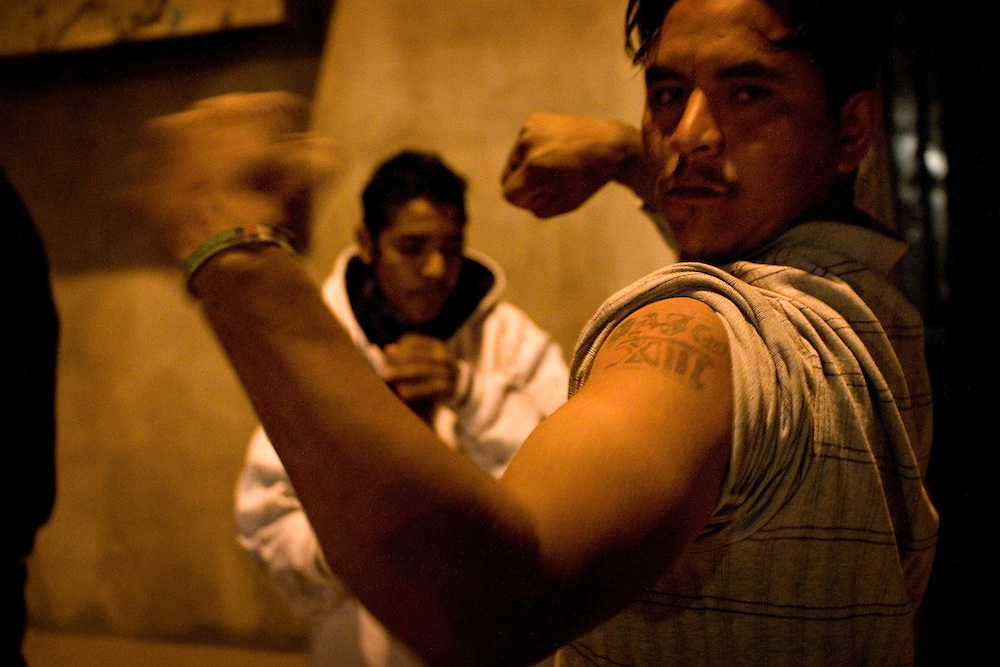 Members of  Juarez's Baja 13 gang show off their tattoos and guns, Sunday, April 5, 2009.