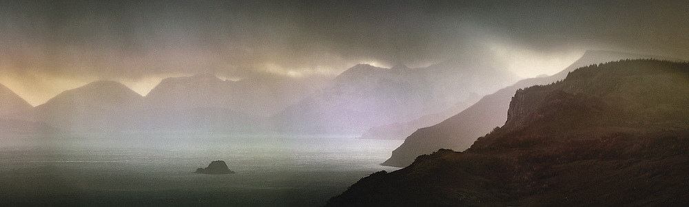 Hail passing over the Sound of Raasay, Isle of Skye, highlands, Inner Hebridies, Scotland