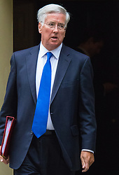 Downing Street, London, September 8th 2015.  Defence Secretary Michael Fallon leaves 10 Downing Street following the first cabinet meeting after the summer holidays, prior to a debate in the House of Commons on the refugee crisis.