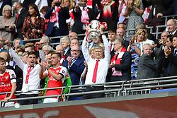 Arsenal manager Arsene Wenger lifts the cup - Mandatory by-line: Dougie Allward/JMP - 27/05/2017 - FOOTBALL - Wembley Stadium - London, England - Arsenal v Chelsea - Emirates FA Cup Final